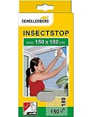 Schellenberg 20403 nylon horrengaas, muggen en insectengaas inclusief bevestigingstape, bevestiging zonder te boren, 150 x 180 cm, antraciet