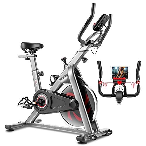 HEKA Heimtrainer Fahrrad, Hometrainer, Spinning Bike, Fitnessbikes, Ergometer Heimtrainer, Fitness Stepper für zuhause – Riemenantrieb, mit LCD Display, Pulsmessung, Ergometer, max 150 kg