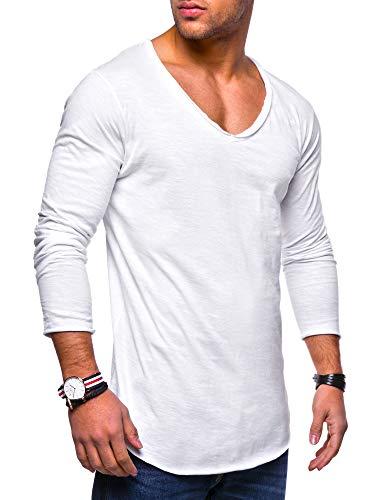 behype. Herren Oversize Longsleeve Langarm T-Shirt V-Neck Ausschnitt 30-0014 Weiß XL
