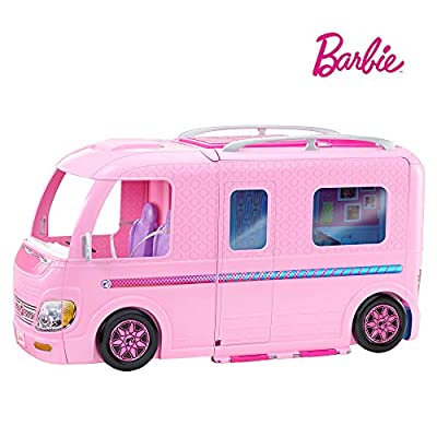 Barbie FBR34 ESTATE Dream Camper Pink Pop Out Caravan for Dolls, Accessories Included, Playset Vehicle from Mattel