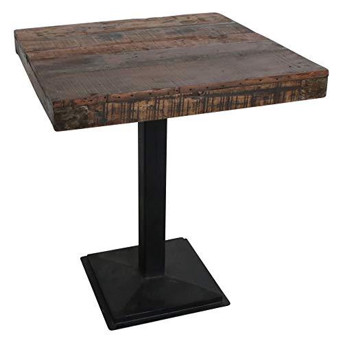 Atypik Home Table Haute en Teck Massif sur Son Pied Noir en Fer forgé
