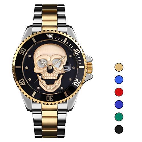 LHR Hombres Relojes De Cuarzo Creatividad Patrón De Calavera Acero Inoxidable Manos Luminosas 30M Reloj De Pulsera Masculino Impermeable Reloj De Hombre-Los Mejores Regalos para Hombres,C