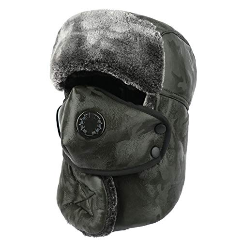 HUYUEXIN Russian Hat,Russian Trapper Hat Green Camouflage with Mask Breathable Lei Feng Cap Ushanka Army Military Aviator Windproof Waterproof Hunting Cap Winter Thicken Ear Flaps Warm Ski Hat