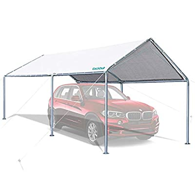 GALSOAR Carport, 10 x 20 ft Heavy Duty Car Canopy for Snowy, Rainy Sunny Days, Rust Resistant Galvanized Steel Framework Car Tent, White