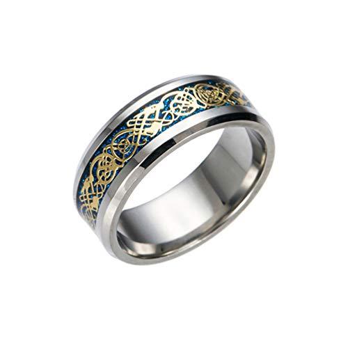 Amesii, anello da uomo, alla moda, in titanio e acciaio, superficie liscia, per matrimonio, regalo e Lega, 19,5, colore: Blue + Golden, cod. AME
