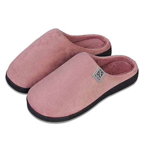 Herren Damen Hausschuhe Pantoffeln Baumwolle Plüsch Wärme Weiche Herbst und Winter Kuschelige Home rutschfeste Slippers(Rosa,40 41)