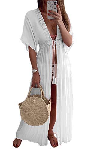 Zilcremo Damen Strand Bikini Cover Up Badeanzug Kimono Sommer MaxiKleid Lang Boho Kleid weiß S