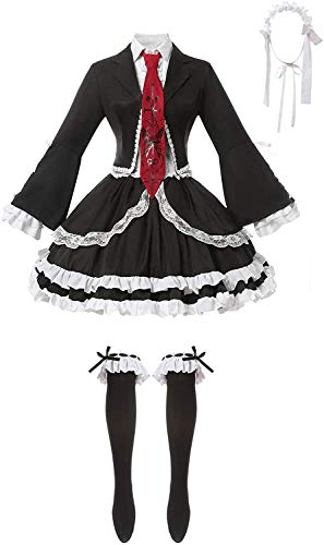 W.Z.H.H.H Traje de Criada Danganronpa v3 Celestia Ludenberg Cosplay Outfit Danganronpa Vestido Negro con Calcetines de Diadema (Color : Negro, Size : M)
