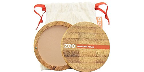 ZAO Compact Powder 303 braun-beige (neutral) Kompaktpuder, in nachfüllbarer Bambus-Dose (bio, Ecocert, Cosmebio, Naturkosmetik)
