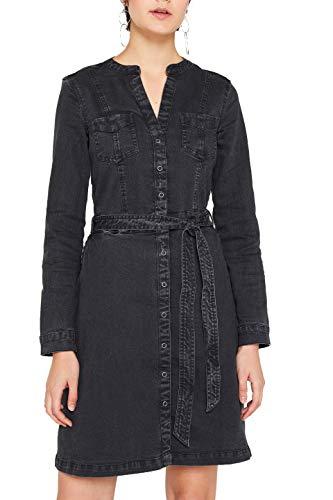 edc by ESPRIT Damen 109CC1E028 Kleid, Schwarz (Black Dark Wash 911), Medium (Herstellergröße: M)