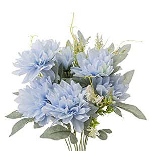 Yongyue Springs Flowers Artificial Silk Dahlia Bouquets Wedding Home Decoration (Spring Blue)