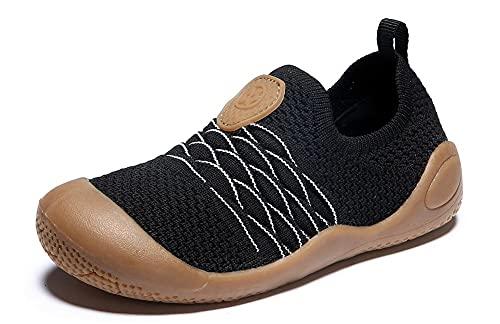 Gaatpot Kinder Sneaker Jungen Sportschuhe Madchen Atmungsaktiv Laufschuhe Outdoor Turnschuhe Freizeit Schuhe Schwarz 22EU