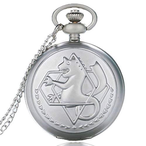 ZMKW Reloj de Bolsillo de alquimista de Metal Completo en Tono Plateado/Bronce, diseño de Anime de Edward Elric, Collar con Colgante para niños, Cadena de Regalo, Arena perlada