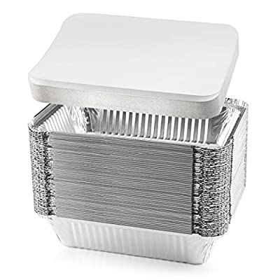 """NYHI 50-Pack Heavy Duty Disposable Aluminum Oblong Foil Pans with Lid Covers Recyclable Tin Food Storage Tray Extra-Sturdy Containers for Cooking, Baking, Meal Prep, Takeout - 8.4"""" x 5.9"""" - 2.25lb"""
