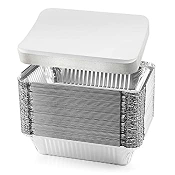 NYHI 50-Pack Heavy Duty Disposable Aluminum Oblong Foil Pans with Lid Covers Recyclable Tin Food Storage Tray Extra-Sturdy Containers for Cooking Baking Meal Prep Takeout - 8.4  x 5.9  - 2.25lb