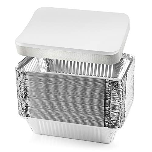 NYHI 50-Pack Heavy Duty Disposable Aluminum Oblong Foil Pans with Lid Covers Recyclable Tin Food Storage Tray Extra-Sturdy Containers for Cooking, Baking, Meal Prep, Takeout - 8.4' x 5.9' - 2.25lb