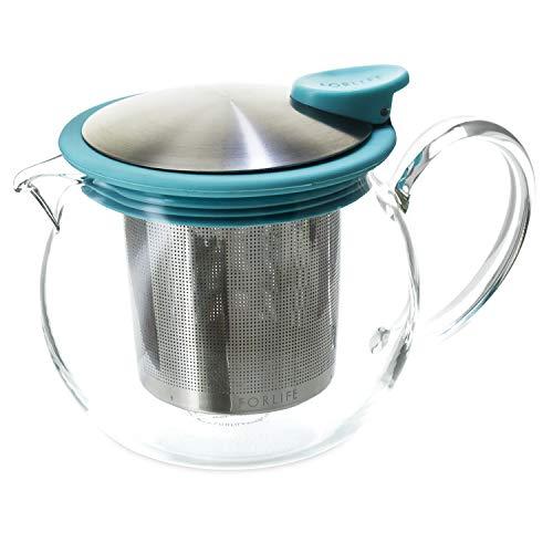 FORLIFE Bola Théière en verre avec infuseur à panier Turquoise 444 ml