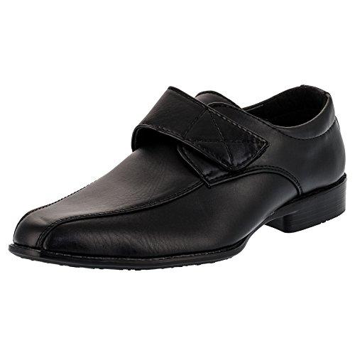 ALIZEA Kinder Jungen Anzug Schuhe mit Echt Leder Innensohle und Klettverschluss M090sw Schwarz 25