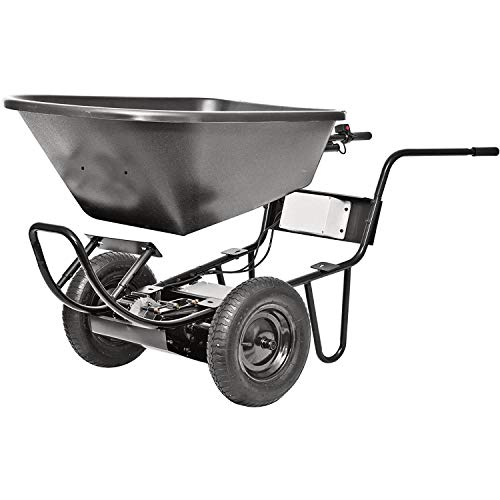 PAW 44219 Power Assist Lawn & Garden Self Propelled Rechargeable Electric Drive System Wheelbarrow Cart with 2 Front Wheels, Black