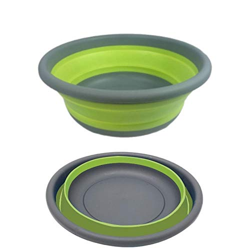 Alberta Faltbare runde Waschbecken Silikon Dish Tub Gemüse Waschbecken Sink Home Storage for Kleidung Gemüse-Küche-Bad-Container-Gray (Color : Green)