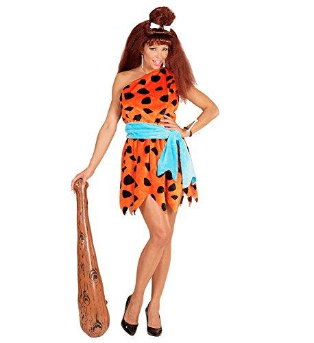 shoperama Damen Steinzeit Kostüm Stoneage Woman Wilma Feuerstein Neandertalerin Höhlenmensch Kleid Schulterfrei, Größe:M