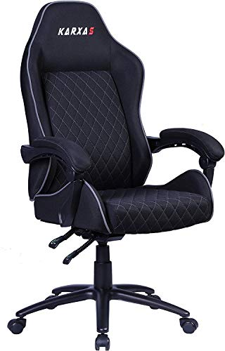 KARXAS PC Gaming Chair Office Computer Game Racing Chair Ergonomic High Back Adjustable Recliner Swivel Rocker with Lumbar Support for Adults E-Sports Executive Chair (Gray)