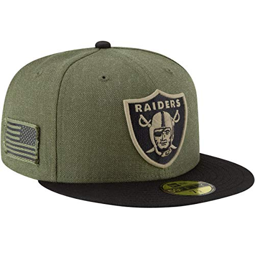 New Era Oakland Raiders On Field 18 Salute to Service Cap 59fifty 5950 Fitted Limited Edition, Green, 7 5/8 - 61cm (XL)