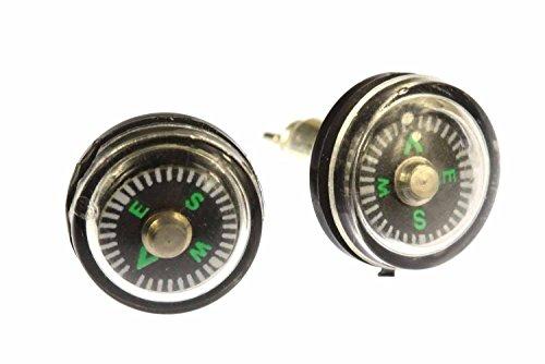 Miniblings Kompass Outdoor Ohrstecker Camping beweglich 1cm - Handmade Modeschmuck I Ohrringe Stecker Ohrschmuck
