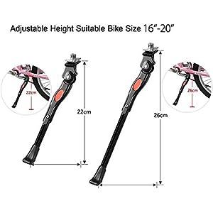 DEWEL Pata de Cabra para Bicicletas de Aluminio Aleación Soporte Ajustable del Retroceso de Caballete Lateral Antideslizante