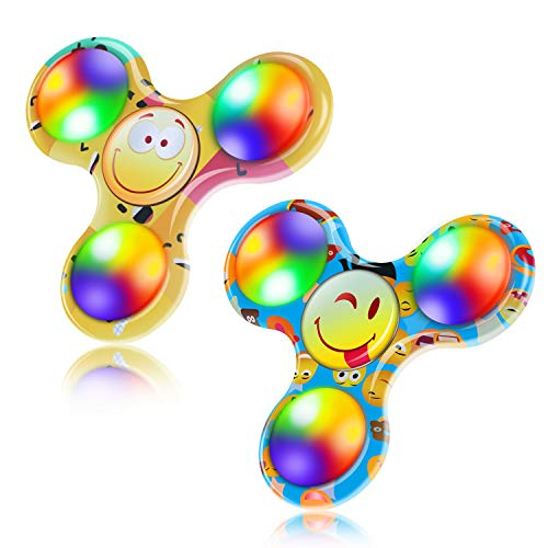 FIGROL Fidget Spinner, 2 Pack Led Light Up Fidget Spinner- Finger Toy Hand Fidget Spinner-for Kids with Anxiety Stress Reduce, Birthday Gift Reward to Students, Stay Focus, Stress Relief(Yellow&Blue)