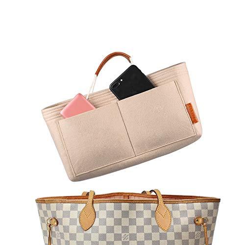 FOREGOER Felt Handbag Bag Organiser Insert for Tote with Handles (Beige)