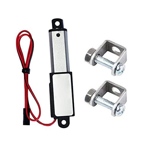 Gracy Micro actuador Lineal eléctrico Mini Impermeable con Soportes de Montaje 12v 60n Longitud de Carrera de 15 mm 50 mm Velocidad