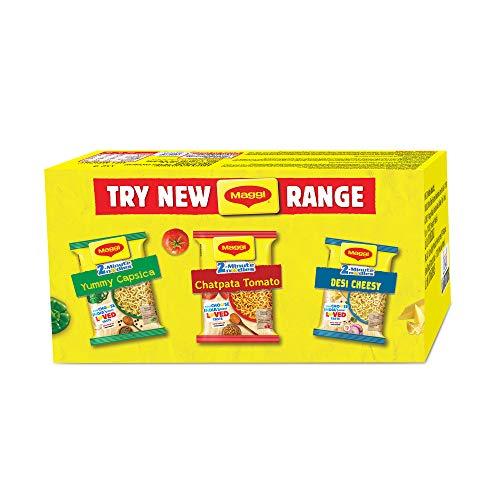 MAGGI 2-Minute Instant Noodles Box - Desi Cheesy Masala (4 Pack x 60.5g), Chatpata Tomato Masala (4 Pack x 60.5g) Yummy Capsica Masala (4 Pack x 60.5g) - 726g(Pack of 12)