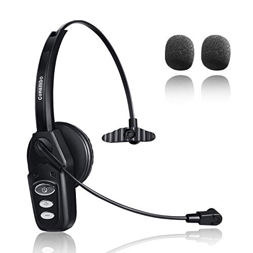 Bluetooth Headset 5.0 with Noise Cancelling Mic 16Hrs Talktime Wireless Phone Headset for Truck Driver Call Center Office