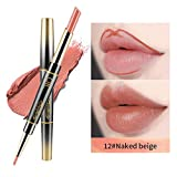 KOBWA 2 in 1 Double-End Lip Liner and Lipstick Set - Waterproof Long Lasting Lip Liner Matte Lipstick Set, Non-Stick Cup Non-marking Moisturizer Silky Lip Pencil and Lipstick Set, Natural Lip Makeup