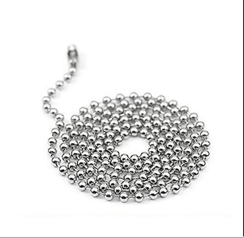 Jiongzhuo Ball & Bead Chains 2.4mm Stainless Steel Ball Bead Necklace Chain Keychain, Bead Ball Dogtag Chains,Floating Locket Necklace for DIY Jewelry Making (Color : Rhodium, Size : 50cm Length)
