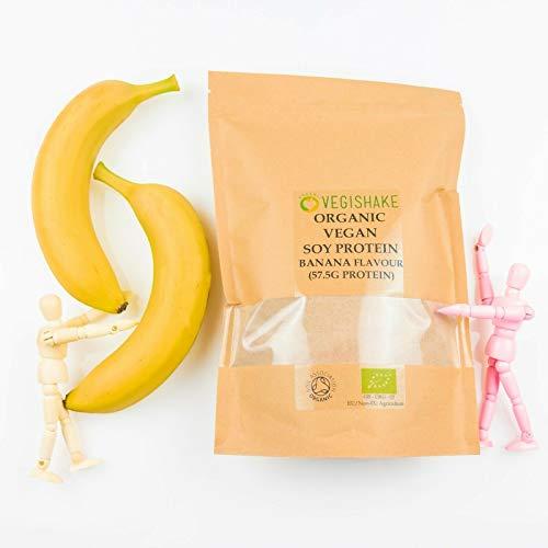 Organic Soy Protein Powder Banana Flavour 57.5g Plant Protein Amino ECAA BCAA Complete Protein Vegan (500g)