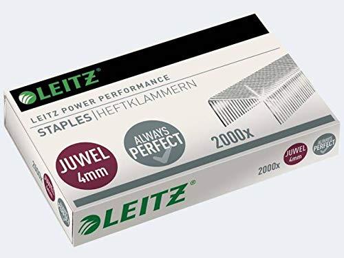 LEITZ Heftklammern JUWEL, verzinkt, 4 mm, Heftleistung: 12 Blätter, Sie erhalten 1 Packung, Packungsinhalt: 2000 Stück