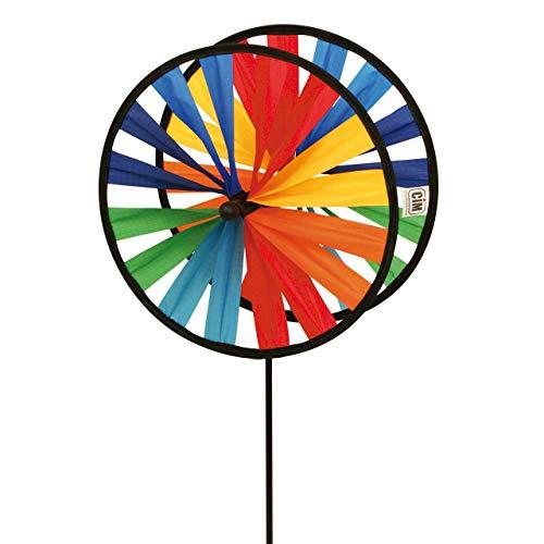 CIM Windspiel - Magic Wheel Twin 25 - UV-beständig und wetterfest - Windräder: 2xØ25cm, Höhe: 65cm - inkl. Fiberglasstab - Vielseitige Haus und Gartendekoration