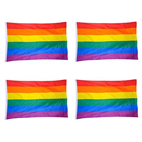 STOBOK Homossexual Rainbow Poliéster Bandeira Bandeira Bandeiras Bandeira Ao Ar Livre Bandeira Premium Do Orgulho Gay Camarada- 4Pcs/ 90 * 150Cm