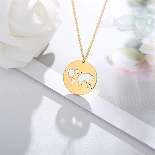 ZJJLWL Co.,ltd Necklace Geometry Necklace Round Pendant Necklace Gold Chian Stainless Steel Chian Simple World Map Chocker Necklace for Women