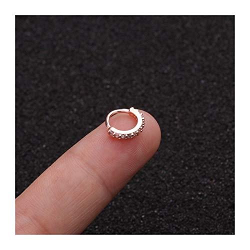 Hkldm 1pc 6/8 / 10mm CZ Anillo de Nariz Pendientes de Espiral Pendientes Cadena Corporal (Color : Rose Gold 02, Size : 6mm)