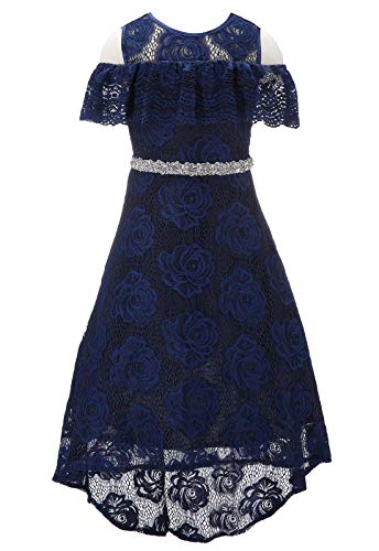 Bow Dream Floral Lace Flower Girl Dresses Off Shoulder Hi-Lo Rhinestone Swing Prom Pageant Navy Blue 8