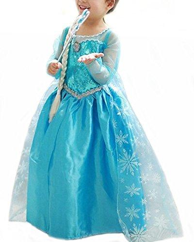 Vogueeasy - Costume de Reine des Neiges pour Enfants - Costume Carnaval Anniversaire Halloween - bleu