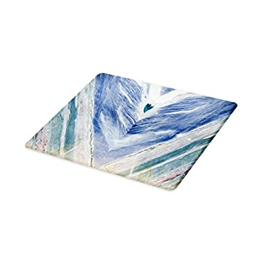Lunarable Marble Cutting Board, Onyx Stone Tribal Style with Color Elements Agate Authentic Pattern, Decorative Tempered Glass Cutting and Serving Board, Small Size, Teal Dark Blue Pale Grey