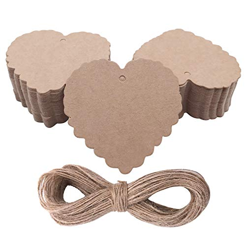100 pcs Christmas Tree Tags Heart Shape Kraft Paper Hanging Ornament Gift Tags Parcel Tags Luggage Label String Pendant Decal