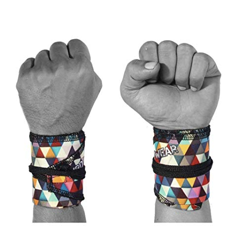 WOD Wear Wrist Wraps for Powerlifting, Strength Training, Bodybuilding, Cross Training, Olympic Weightlifting, Yoga Support - One Size Fits All - 100% (Diamond Pattern)