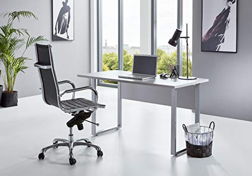 BMG-Moebel.de Büromöbel komplett Set Arbeitszimmer Office Edition Mini in Lichtgrau/Weiß Hochglanz (Schreibtisch)