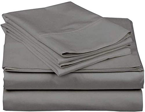 DreamLinen Twin, Elephant Grey 100% Cotton 4-Piece Bed sheet set cotton 400 TC Comes with 15 inches deep pocket Fitted Sheet ultra soft, Sheets Solid