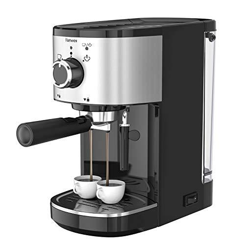Kenwell Espressomaschine, Espresso-Kaffeemaschine mit 15 Bar Pumpendruck, Die Espresso und Cappuccino Enthält, mit Überhitzungsschutzgerät und Netzschalter, Edelstahl + Schwarz